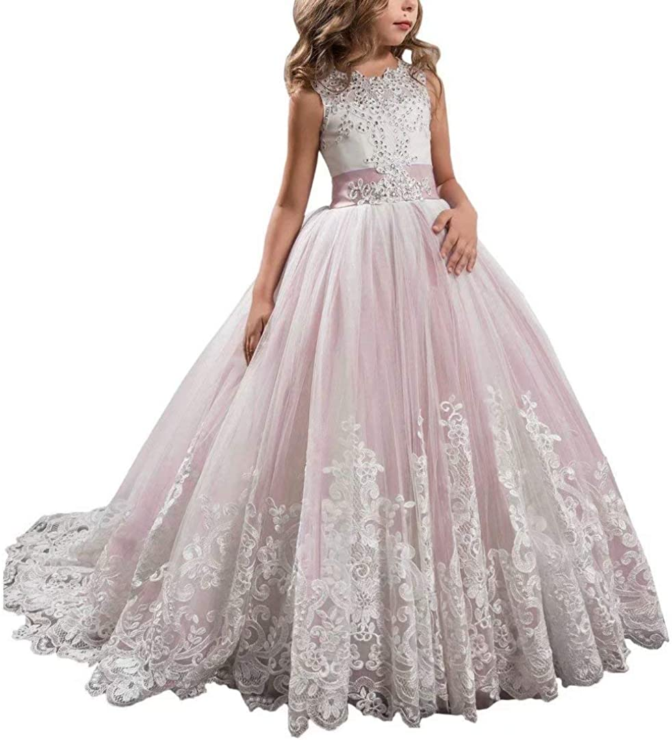 CDE Kids Vintage Fancy Flower Girl Dresses for Wedding Puffy Floral Lace  Prom Formal Dresses with Train Pageant Ball Gowns for Girls 6-16 Years Old