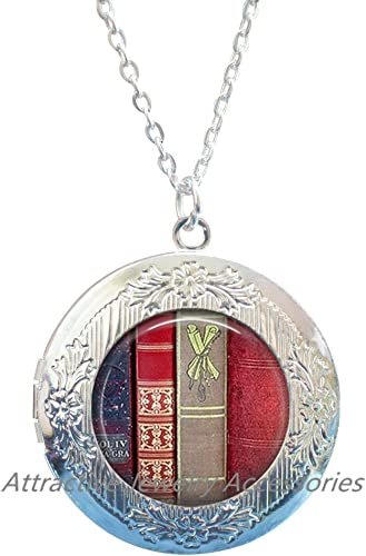 Gifts for Readers,QK200 Book Jewelry Book Locket Pendant Love Books Literary Locket Necklace Library Jewelry Book Lovers,Librarian Locket Pendant