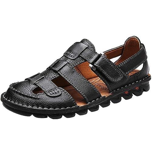 04a87f51e33e0c Yaer Men s Leather Sandals Beach Shoes for Men Sandals Shoes Size 6-12(2  Colors)  Amazon.co.uk  Shoes   Bags