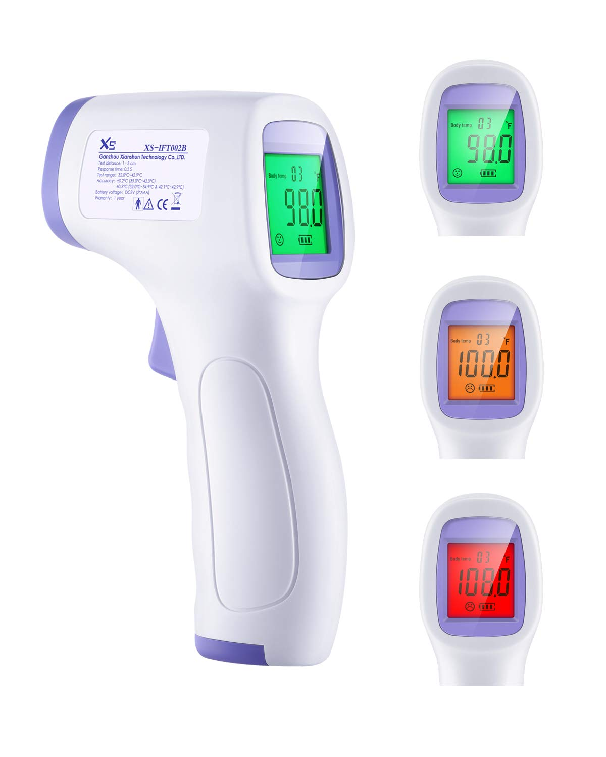 3 Color Screen,High Temperature Alarm Forehead Infrared Thermometer for Kids /& Adults Accurate Instant Readings Forehead Thermometer with LCD Display