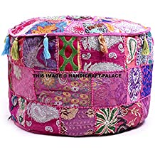 HANDICRAFT-PALACE Indian Traditional Home Decorative Ottoman Handmade Pouf,Indian Comfortable Floor Cotton Cushion Ottoman Cover Embellished with Patchwork and Embroidery Work,Indian Vintage Pouf