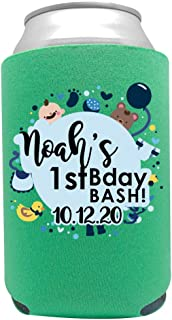 product image for Personalized Can Cooler Custom Can Coolies – Birthday Can Coolies - Fits 12-Ounce Cans and Bottles – Keeps Drinks Cold for Longer – Ideal for Travelling, Party Favors Baby Boy 6 Pack