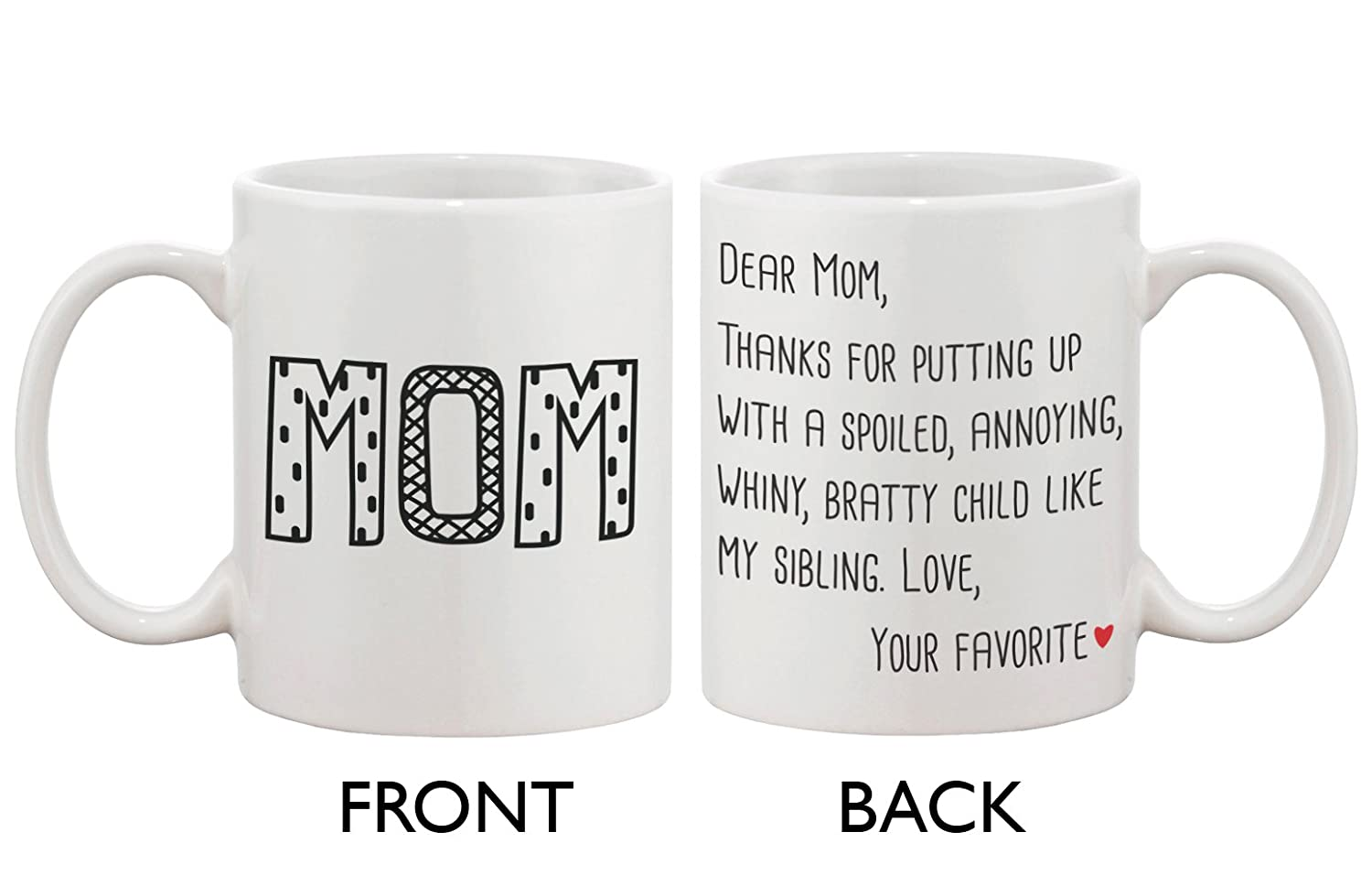 Amazon.com: Cute Ceramic Coffee Mug for Mom - Dear Mom From Your ...
