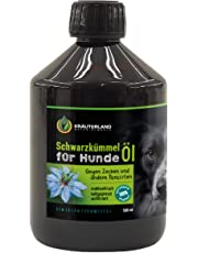 Kräuterland Schwarzkümmelöl für Hunde, 500ml, ungefiltert, 100% naturrein, mühlenfrisch, direkt vom Hersteller, natürlicher Zeckenschutz & Fellpflege