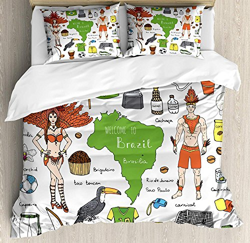 Modern 4 Piece Bedding Set Duvet Cover Set Twin Size, Brazilian Symbols Rio Carnival Samba Dancer Flag Christ the Redeemer Statue Print, Luxury Bed Sheet for Childrens/Kids/Teens/Adults, ()