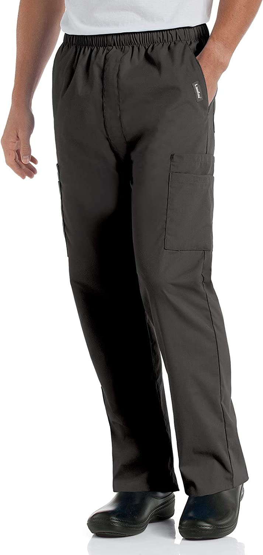 Landau Men's Comfort Stretch Unisex 7-Pocket Elastic Waist Cargo Scrub Pants 8555, Black, Medium Short: Medical Scrubs Pants: Clothing