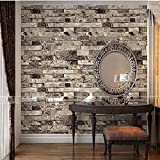 "QIHANG Vintage Brick Wall Wallpaper / Embossed Textured Bricks 4 Color For Choose 0.53m(20.8"")*10m(32.8')=5.3(57sqfeet) (Gray)"