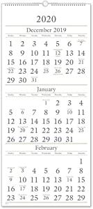 """AT-A-GLANCE SW1152820 2020 Wall Calendar, 3-Month Display, 12"""" x 27"""", Large, Wirebound, Vertical (SW11528)"""