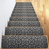 "carpet for stairs Elogio Carpet Stair Treads Set of 13 Non Slip/Skid Rubber Runner Mats or Rug Tread - Indoor Outdoor Pet Dog Stair Treads Pads - Non-Slip Stairway Carpet Rugs (Gray) 8"" x 30"" Includes Adhesive Tape"