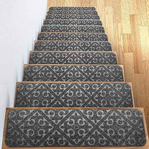 Carpet Stair Treads Set of 13 Non Slip/Skid Rubber Runner Mats or Rug Tread - Indoor Outdoor Pet Dog Stair Treads Pads - Non-Slip Stairway Carpet Rugs (Gray) 8