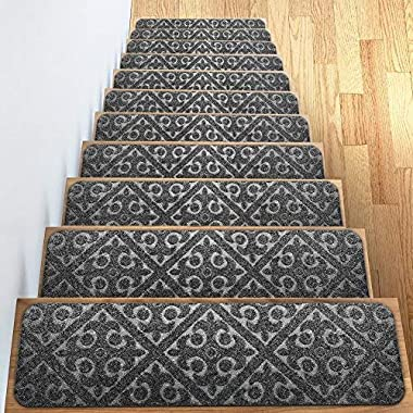 "Carpet Stair Treads Set of 13 Non Slip/Skid Rubber Runner Mats or Rug Tread – Indoor Outdoor Pet Dog Stair Treads Pads – Non-Slip Stairway Carpet Rugs (Gray) 8"" x 30  Includes Adhesive Tape"