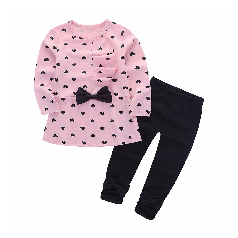 Motteecity Little Girls' Heart Bow Pants Set Warm