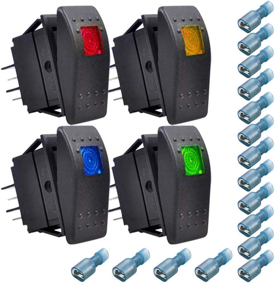 Rosso,Giallo,Blu,Verde +16pcs Terminale Gebildet 4pcs 12V Impermeabile Interruttore a Bilanciere,ON-OFF Interruttore a Levetta per Barche Marine 6.3mm