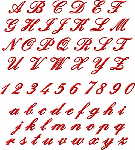 ThreaDelight ABC Machine Embroidery Designs Set - Miniature Script Embroidery Designs 62 designs - Complete Alphabet in Two Sizes 4x4 Hoop - CD -