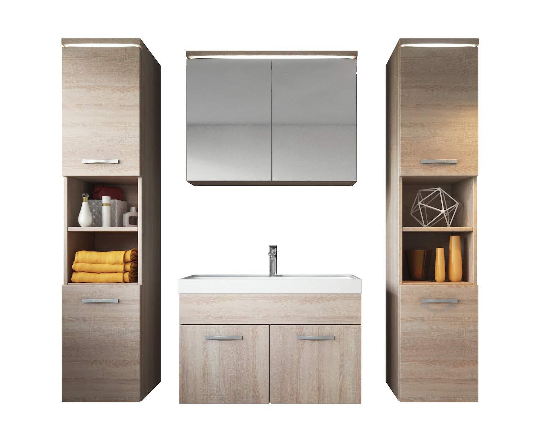 Badezimmer Badm ouml bel Set Paso XL LED 80 Cm Waschbecken Sonoma Eiche Unterschrank 2x ...