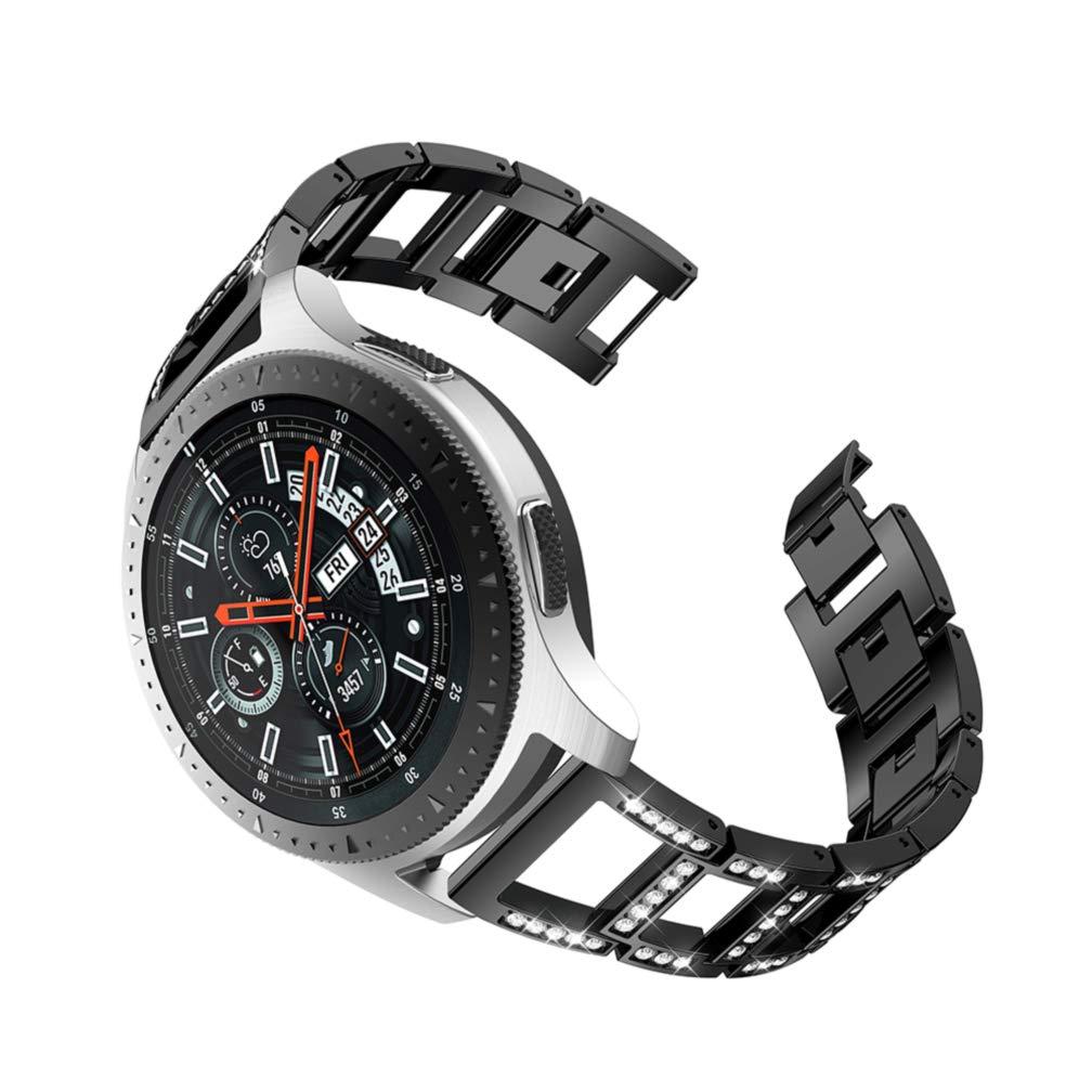 Samsung Galaxy Watch 46mm バンド リークル 22mm ステンレススチール 交換用ベルト サムスン Galaxy Watch スマートウォッチ用 46mm Band length:172mm ブラック RE-1413 B07KF9Q1MH ブラック