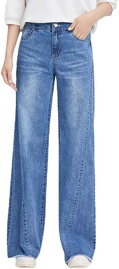Pantalon Ancho Para Mujer De Pantalones Cintura Alta Pantalones Modernas Casual Vaqueros Pantalon Ancho De Mezclilla Bolsillos Delanteros Pantalones Casuales Amazon Es Ropa Y Accesorios