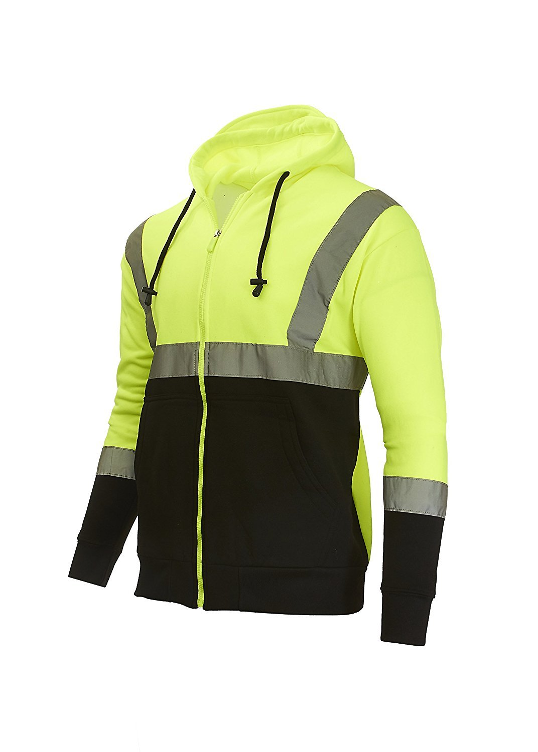 Arctic Quest Mens Fleece Full Zip Hoodie Safety Sweatshirt Reflective Detail Safety Yellow/Black Large