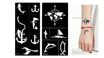 Tattoo Plantilla Plantilla Mapa del Mundo Delfín ancla sirena para ...