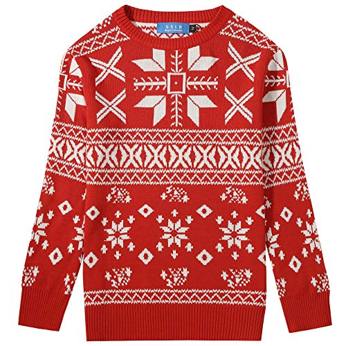 SSLR Big Boys' Xmas Snowflakes Pullover Crew Neck Ugly Christmas Sweater (Small(8), Red)
