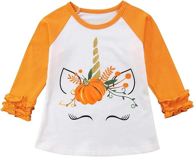 NEW Boutique Pumpkin Unicorn Girls Ruffle Sleeve Halloween Shirt