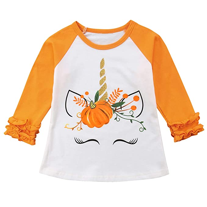Toddler Kids Baby Girl Unicorn Pumpkin Ruffles Long Sleeve T-Shirt Tops Outfits (2T) Orange