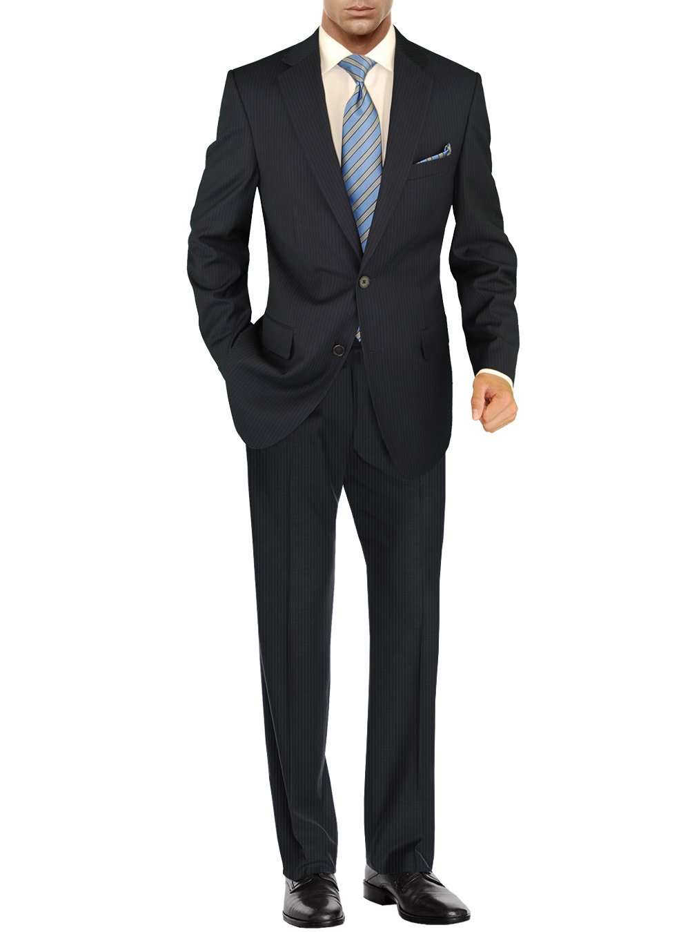 Salvatore Exte Men's Suit Modern Two Button 2 piece Striped (40 Regular, Dark Navy)