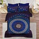 SHIRANYA 100% Cotton Dark Blue Mandala Duvet Cover Set Queen 3 Piece Indian Ethnic Reversible Bohemian Floral Design Bedsprea
