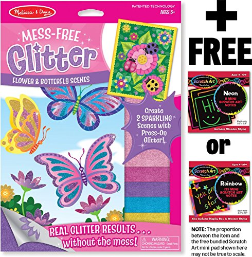 Flower & Butterfly Scenes - Mess Free Glitter Series + FREE Melissa & Doug Scratch Art Mini-Pad Bundle [95112] - Scratch Glitter
