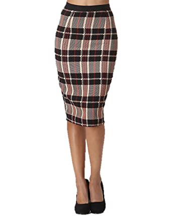 Tartan Plaid Print Midi Pencil Skirt (Small, Black Red Khaki Plaid ...