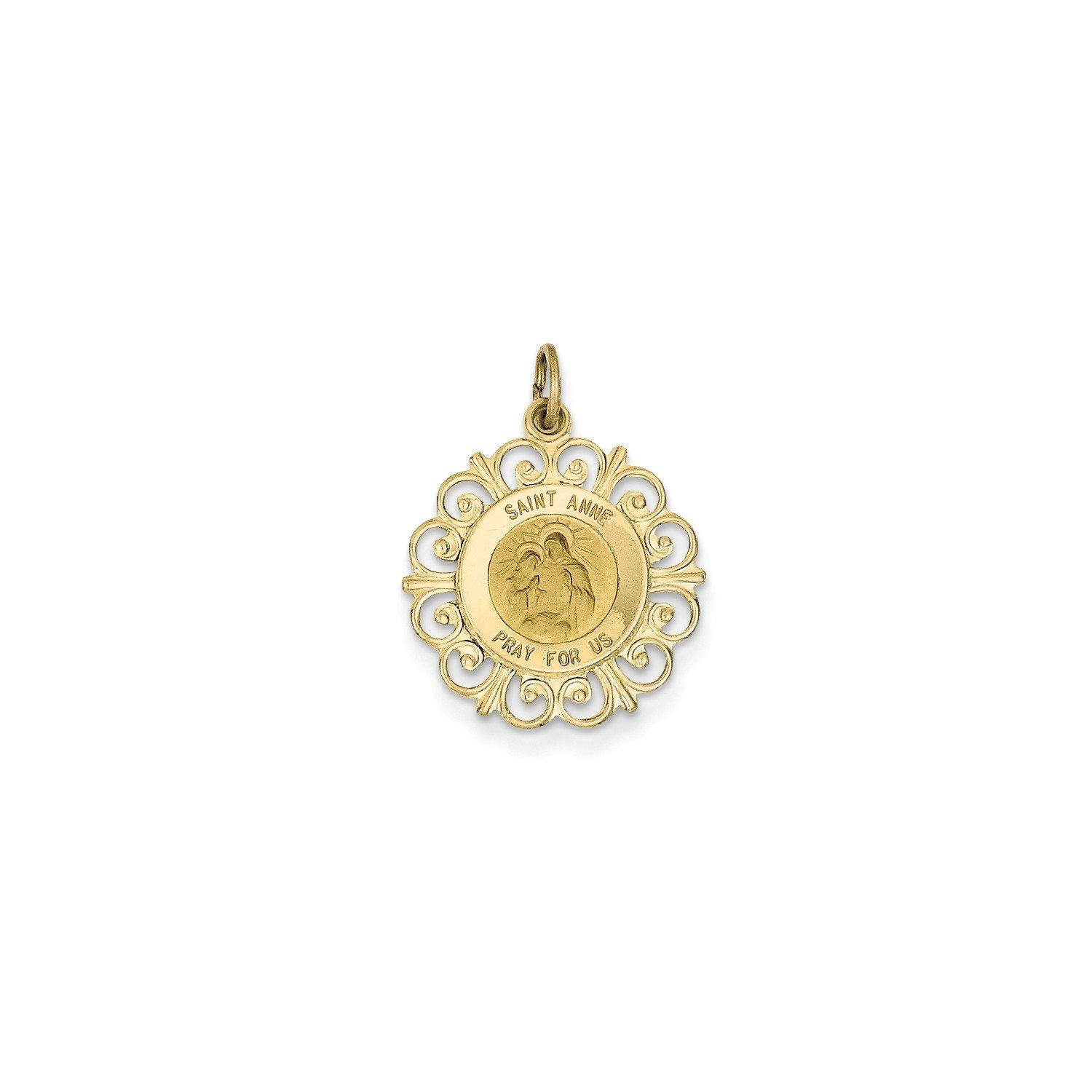Roy Rose Jewelry 14K Yellow Gold Saint Anne Medal Charm