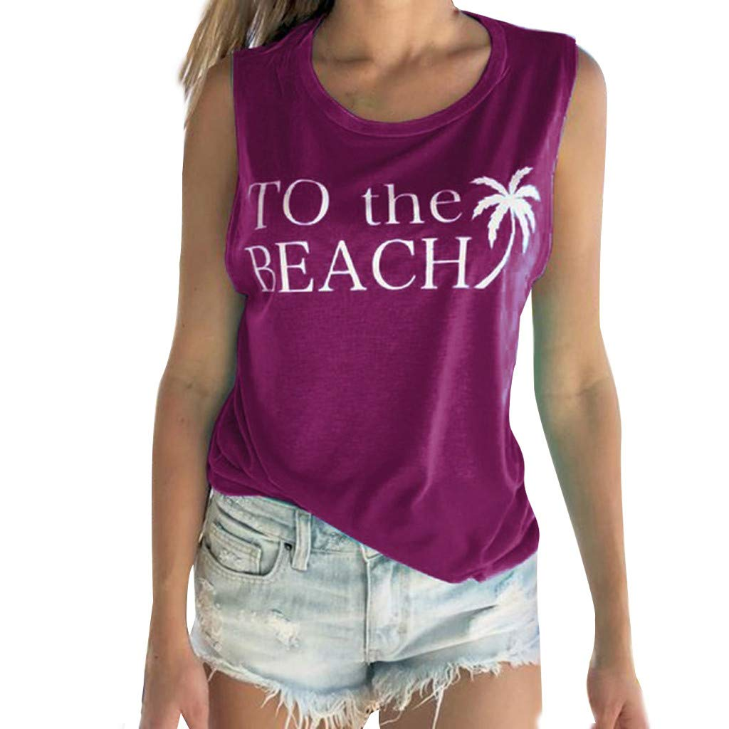 InMarry Women Vest Fashion Womens Tank Tops Sleeveless Letter Print Casual Round Neck Loose Shirt (M, Purple)