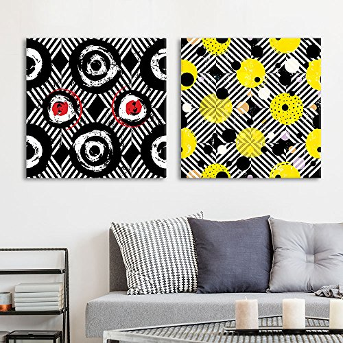 2 Panel Square Abstract Black and Yellow Pattern x 2 Panels