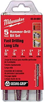 Milwaukee 48-20-8851 5 Piece Hammer Drill Bit Set