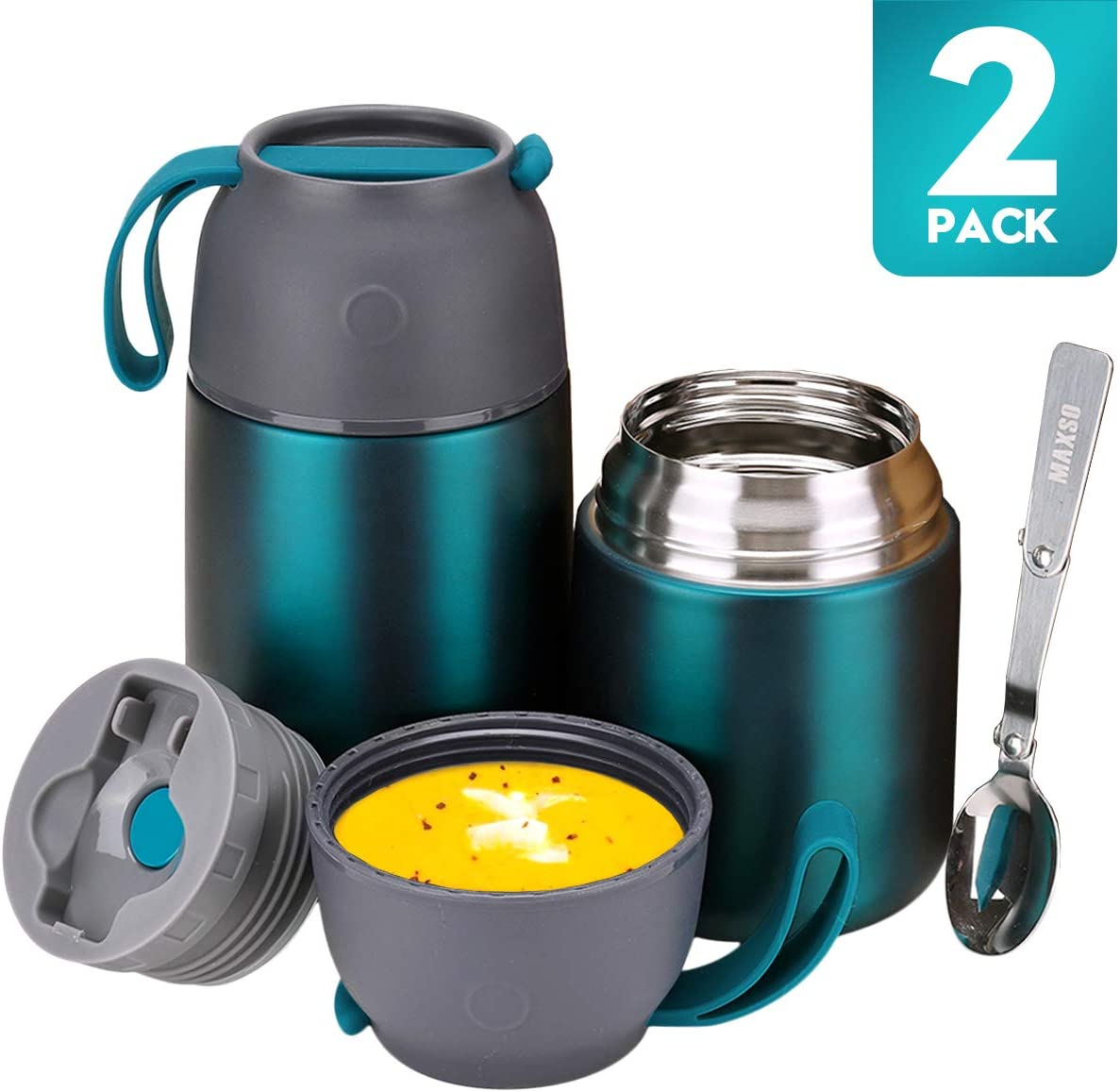 Thermos Food Jar for Hot & Cold Food for Kids Adult, 24 oz and 17 oz Set Soup Thermos Hot Food Containers for Lunch, 2 Pack Vacuum Insulated Food Jar with Spoon