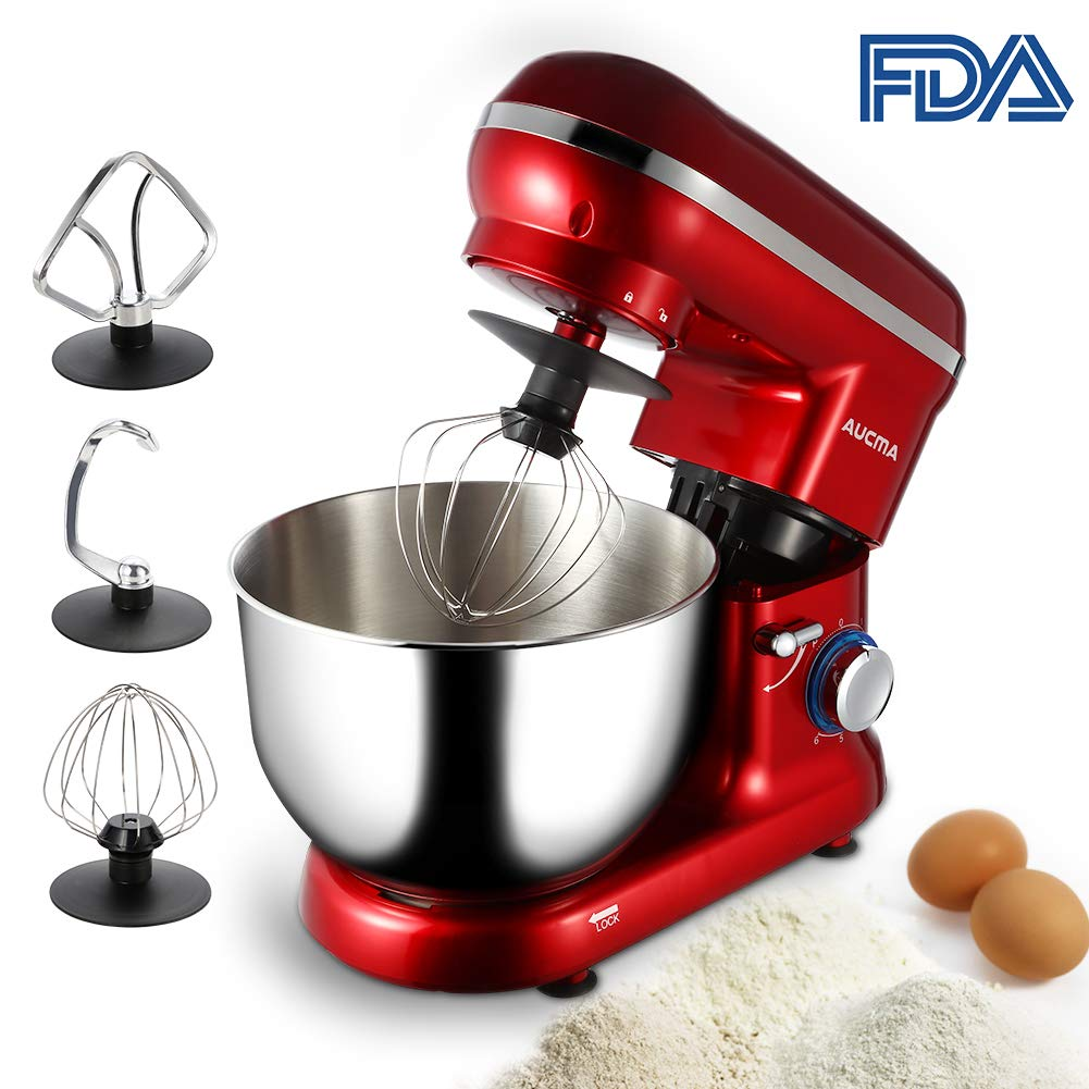 Aucma Stand Mixer, 6qt Quart Stainless Steel Mixing Bowl, 600W 6 Speed Tilt-Head Food Mixer, Kitchen Electric Mixer with Dough Hooks, Whisk & Beater (Red)