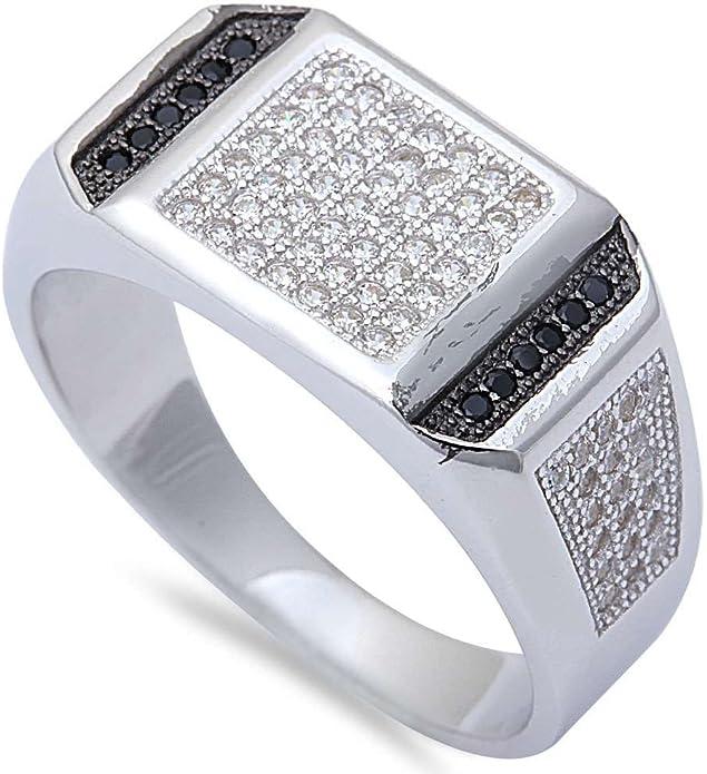 Men/'s 1CT Black /& White Micro Pave Cz Hiphop Fashion .925 Sterling Silver Ring