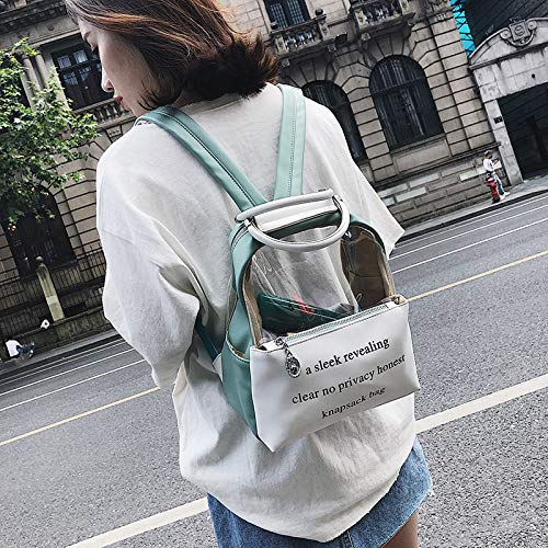 teléfono con Viaje Cremallera Moda Girl Lady manija de lzndeal de Green para Student móvil Transparente Mochila con g0Rw7A1n