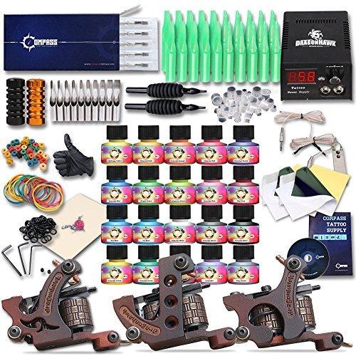 Dragonhawk Complete Tattoo Kit 3 Pro Machines Gun Immortal Inks Power Supply Tattoo Needles Tips Grips 3-2YMX