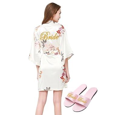 PROGULOVER Women's Floral Satin Kimono Robe Bathrobe Sleepwear Bridal Bridesmaid Wedding Party