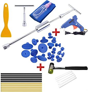 Henergy Auto Body Paintless Dent Removal Puller Repair Kit Tools with Glue Pulling Tabs for Car Hail Damage and Door Dings Remover