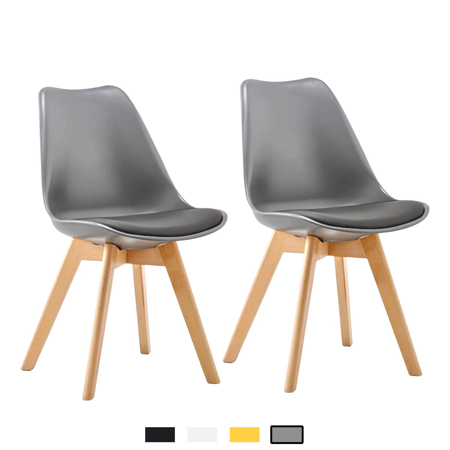 4d6edcfbab1d7 YEEFY DSW Dining Chairs Upholstered Tulip Chair for Living Room, Dining  Room, Set of 4 (Gray)