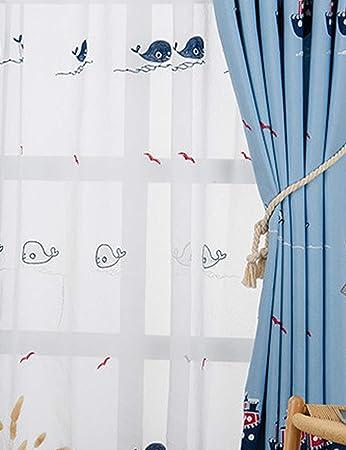 Lactraum Vorhang Kinderzimmer Junge Maritim mit Ösen Transparent Weiß  Bestickt Delphin Möwe Tiere Voile 145 x 245cm