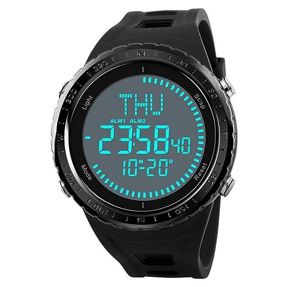 Reloj Digital Hombres Exterior 50M Impermeable Countdown Brújula Cronógrafo Deporte EL Retroiluminación Electrónica Relojes de Pulsera: skmei: Amazon.es: ...
