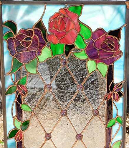 (Stunning Victorian Stained Glass Rose Panel, Diamond Design with Purple Cabochons, Custom for You, One of a Kind, Great Size: 12 1/2