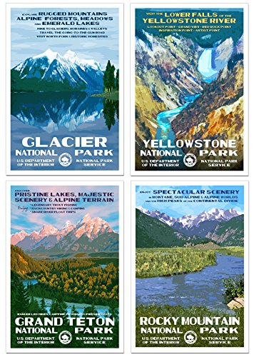 - Rocky Mountain Region - National Park Posters - 4 Pack - Original Artwork - 13