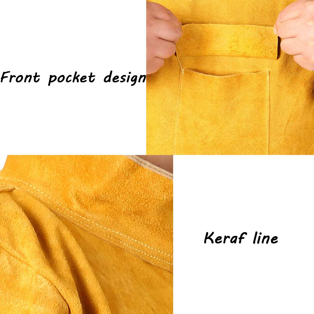 LAIABOR Welding bib Apron with Adjustment Split Leg Protective Foot Yellow Cowhide Leather Safety Apparel Flame wear Resistant Multi Purpose Workshop Long Suit for Welder,Brown,XXL by LAIABOR (Image #3)