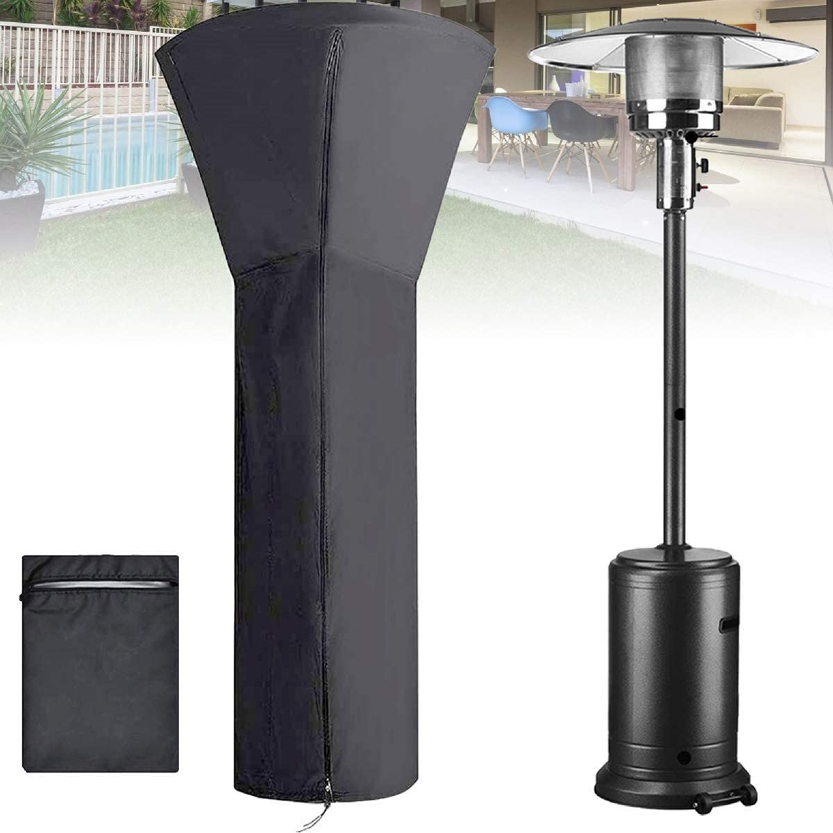 LMHEJING Patio Heater Covers Waterproof with Zipper (Upgraded 420D, H87xD33x19 in), Storage Bag Heavy Duty Black Protects for Outdoor Snow Rain Dust and Sun (H89xD33x19 in, Black)