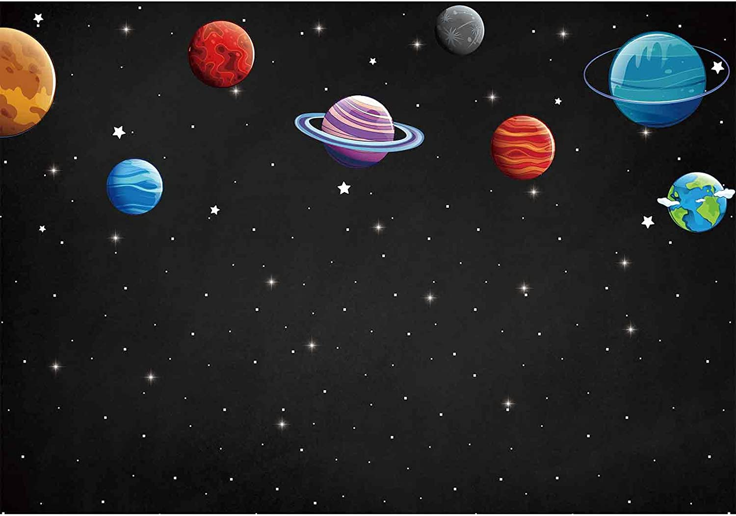 Sensfun 8x8ft Solar System Backdrop Astronomy Education Science Universe Galaxy Space Planets Orbiting The Sun Photo Booth Background Vinyl Studio Photography Props