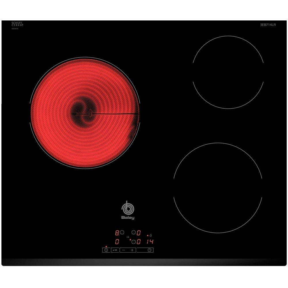 Balay 3EB714LR - Placa de cocina vitrocerámica de 60 cm de ancho, bisel delantero, 3 zonas de cocción, control táctil, color negro